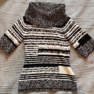 WHBM Black & White Striped Knit Sweater